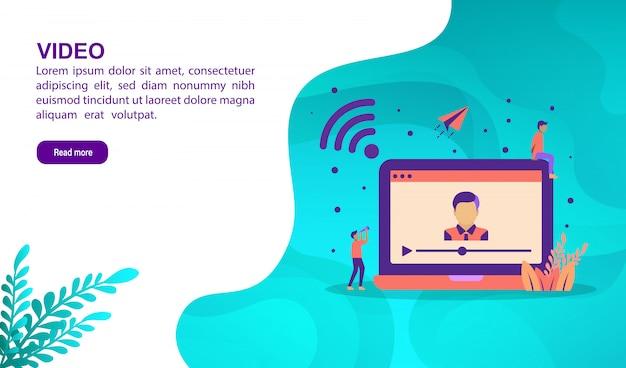 Concept d'illustration vidéo avec personnage. modèle de page de destination Vecteur Premium