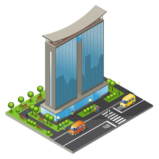 Concept D'immeuble De Bureaux Isométrique Vecteur gratuit