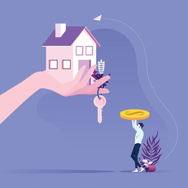 Concept immobilier. homme d'affaires achetant une maison avec la main donnant les clés et la maison. Vecteur Premium
