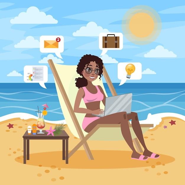 Concept Indépendant. Femme Travaillant à Distance Sur L'ordinateur Portable Via Internet. Travailler En Voyageant. Vacances D'été Sur La Plage. Illustration Vecteur Premium