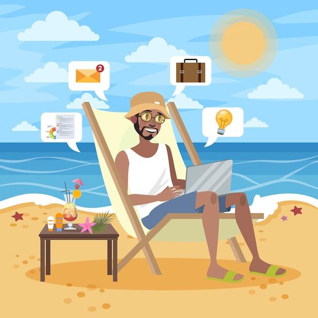 Concept Indépendant. Homme à La Barbe Travaillant à Distance Sur L'ordinateur Portable Via Internet. Travailler En Voyageant. Vacances D'été Sur La Plage De L'océan. Illustration Vecteur Premium