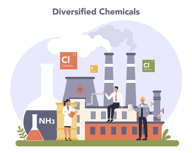Concept De L'industrie Chimique. Chimie Industrielle Et Production De Produits Chimiques. Vecteur Premium