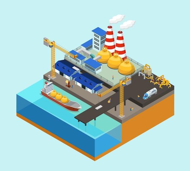 Concept De L'industrie Offshore Gaz Isométrique Avec Grues-citernes Travailleurs De Stockage Des Pipelines De Camion Sur Plate-forme Stationnaire Isolée Vecteur Premium