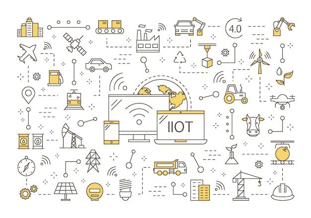 Concept Industriel De L'internet Des Objets Vecteur Premium