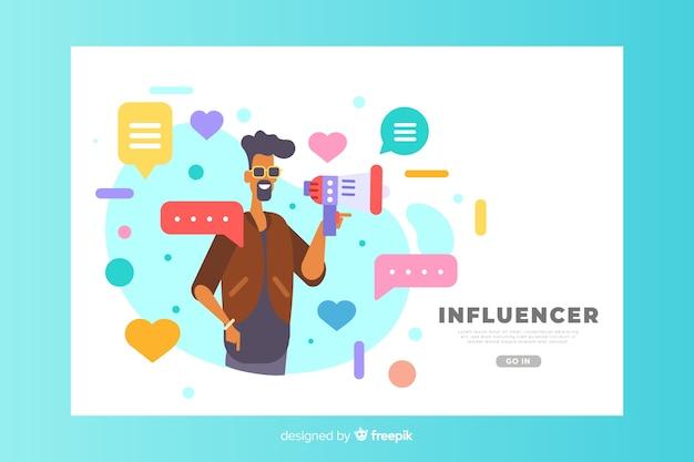Concept d'influence pour la page de destination Vecteur gratuit