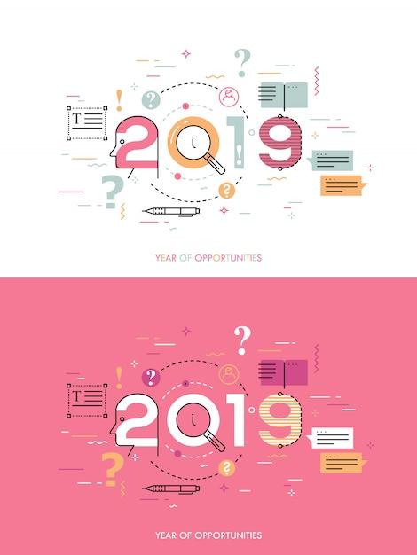 Concept D'infographie 2018 Année D'opportunités Vecteur Premium