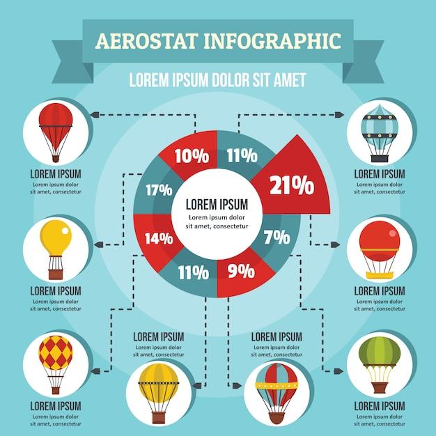 Concept d'infographie aerostat, style plat Vecteur Premium