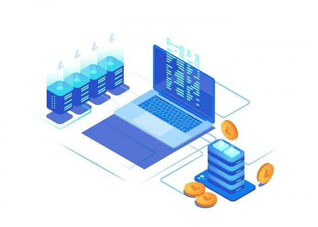 Concept d'infographie de crypto-monnaie minière. Vecteur Premium