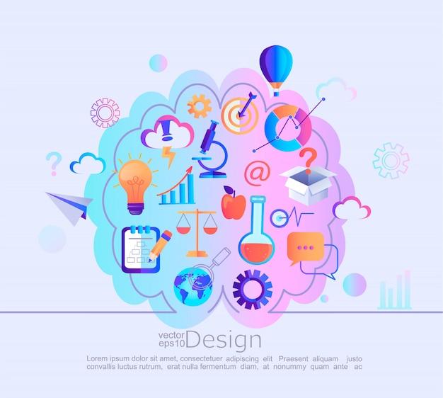 Concept d'infographie de différentes connaissances Vecteur Premium