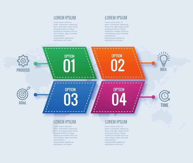 Concept D'infographie D'entreprise Moderne Avec Conception De Bannière En 4 étapes Vecteur gratuit