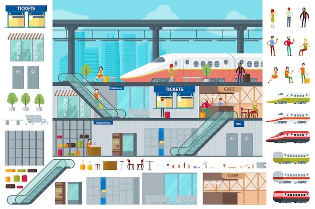 Concept D'infographie De Gare Plate Vecteur gratuit