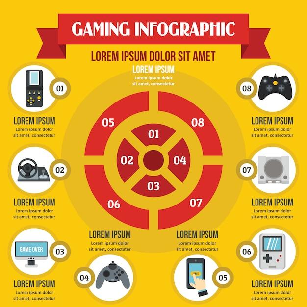 Concept d'infographie de jeu, style plat Vecteur Premium
