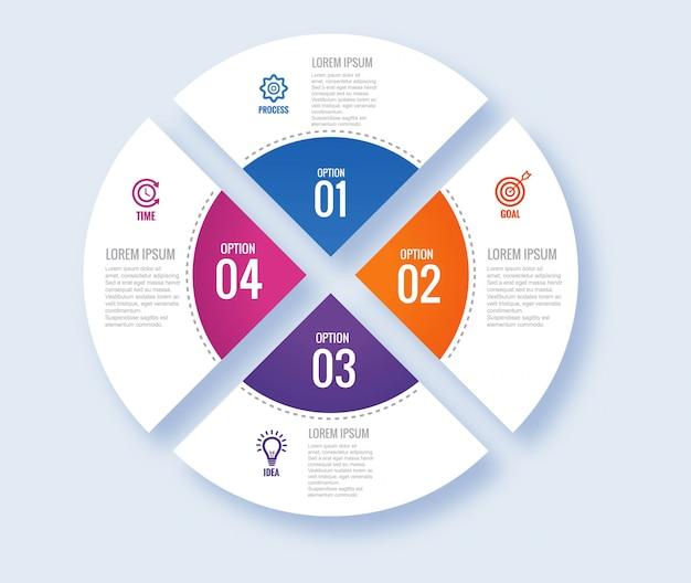 Concept D'infographie Moderne Circulaire Avec Quatre étapes Vecteur gratuit