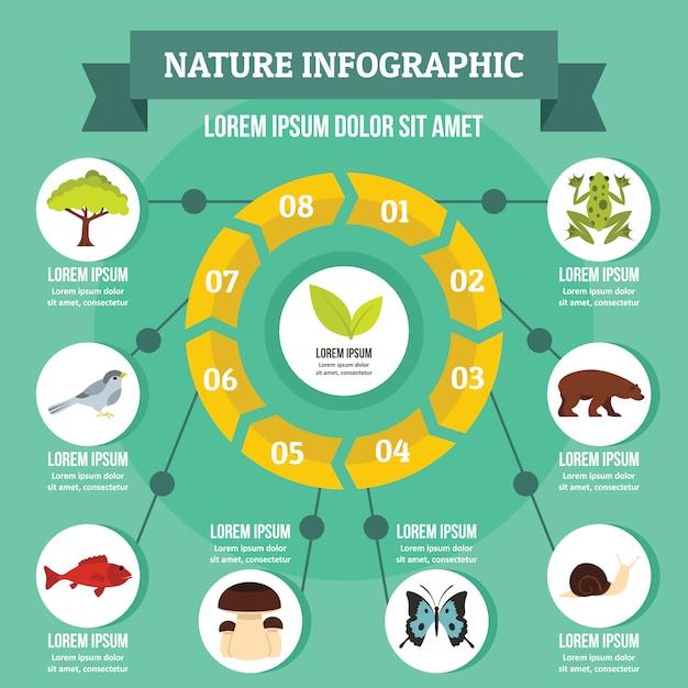Concept infographie nature, style plat Vecteur Premium