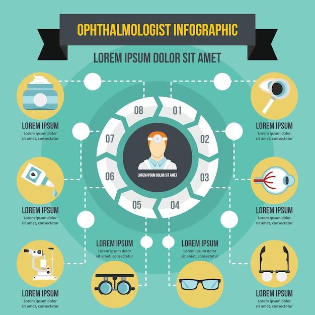 Concept d'infographie ophtalmologiste, style plat Vecteur Premium