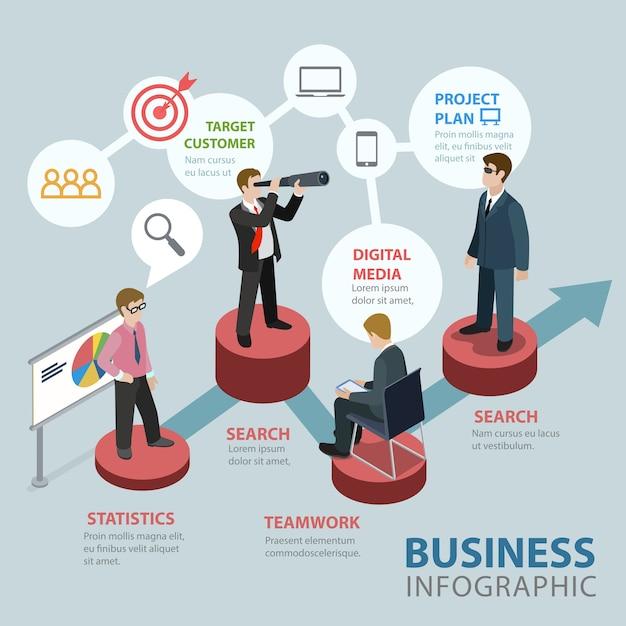 Concept D'infographie Thématique Isométrique Business Flat D Vecteur gratuit