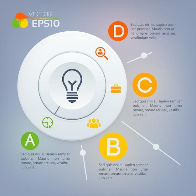 Concept D'infographie Web Avec Diagramme De Cercle Gris Quatre Options Et Icônes D'affaires Vecteur gratuit