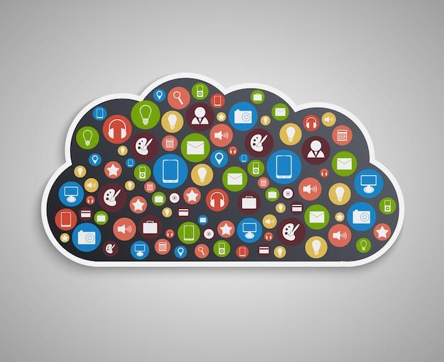 Concept Informatique En Nuage. Fond De Technologie. Vecteur Premium