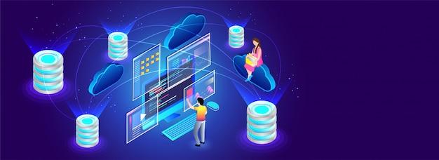 Concept informatique en nuage. Vecteur Premium