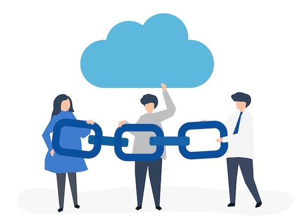 Concept informatique en nuage Vecteur gratuit