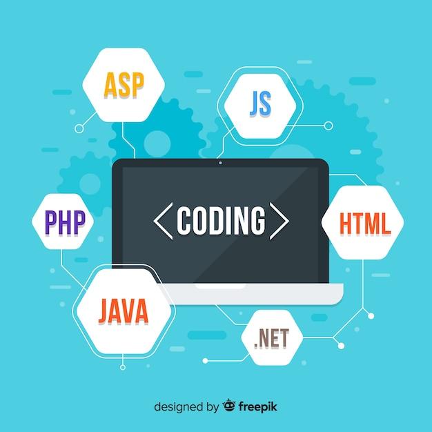 Concept D'ingénierie Informatique Plat Avec Ses Codes Vecteur Premium