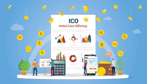 Concept initial d'offre de pièces ico avec des personnes Vecteur Premium