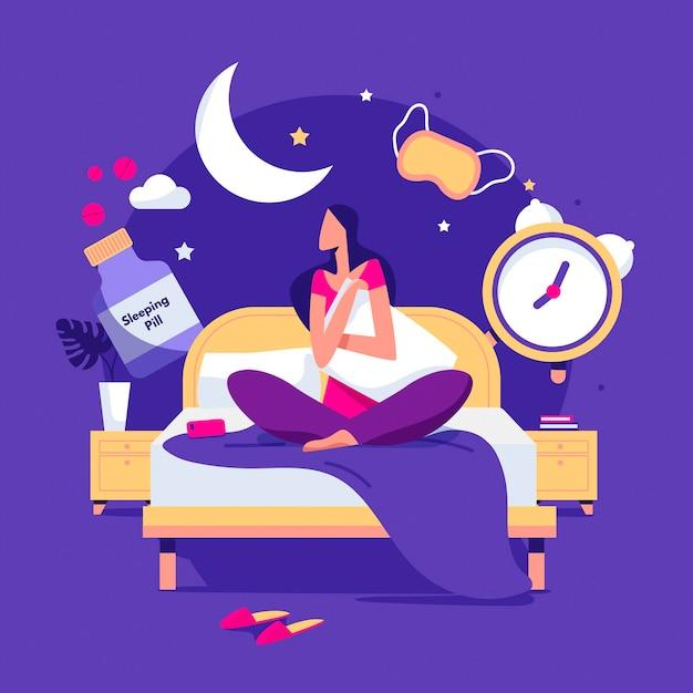 Concept D'insomnie Design Plat Avec Femme Vecteur gratuit