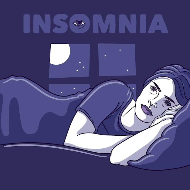 Concept D'insomnie Avec Femme Vecteur gratuit