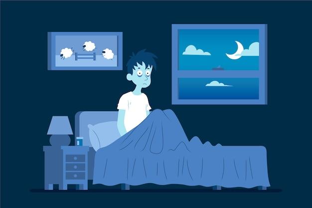Concept D'insomnie Illustré Vecteur gratuit