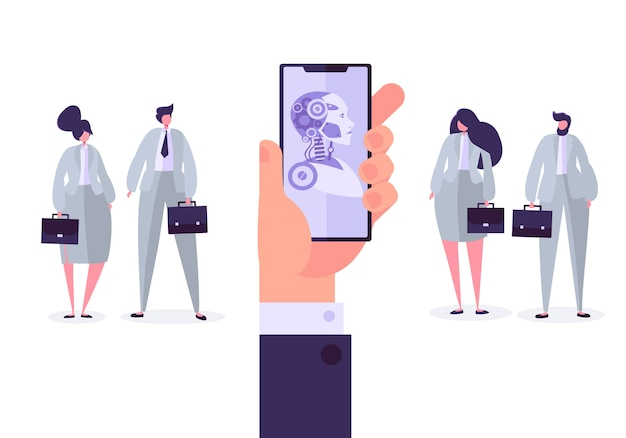 Concept D'intelligence Artificielle. Main Tenant Le Téléphone Mobile Avec Application De Bot. Technologie Et Ingénierie Versus Gens D'affaires. Vecteur Premium
