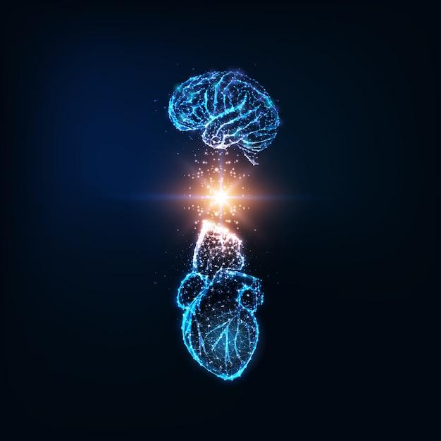 Concept D'intelligence émotionnelle Futuriste Avec Cerveau Et Coeur Humain Polygonale Bas Brillant Vecteur Premium