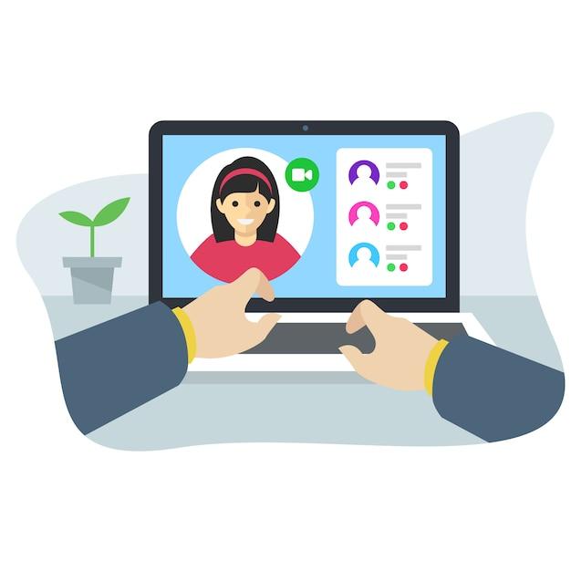 Concept d'interface d'application de conférence en ligne Vecteur Premium