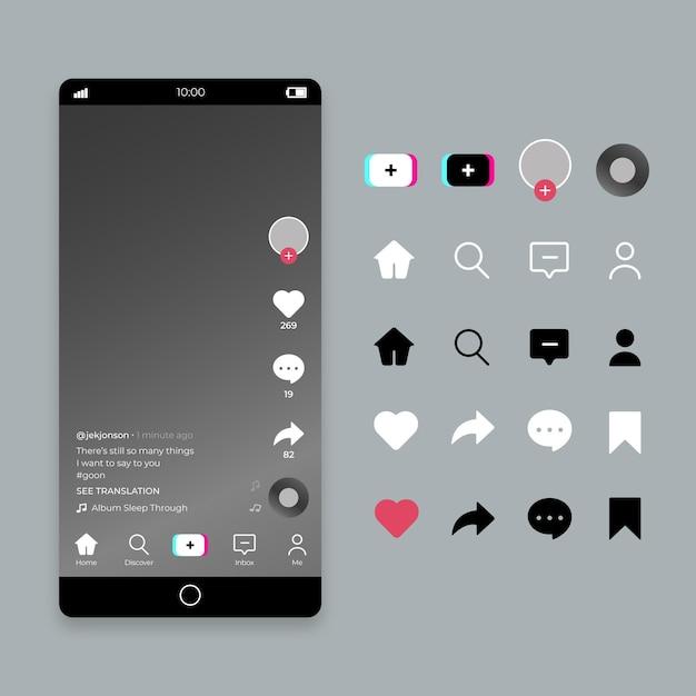 Concept D'interface Tiktok Vecteur Premium