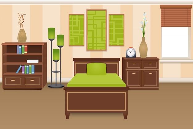 Concept d'intérieur de chambre à coucher Vecteur gratuit