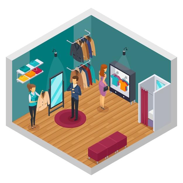 Concept d'intérieur isométrique de magasin d'essai isolé et coloré avec des accessoires en tissu et des acheteurs Vecteur gratuit