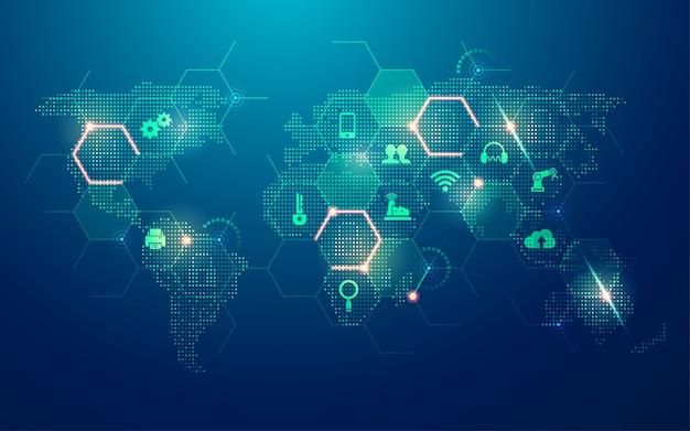 Concept D'internet Des Objets, Carte Du Monde En Pointillé Avec Nouvel élément Technologique Vecteur Premium