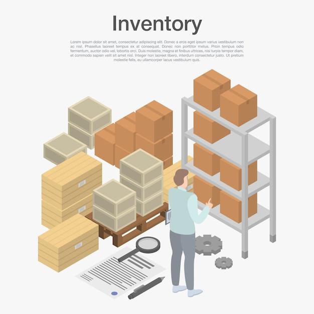 Concept d'inventaire, style isométrique Vecteur Premium