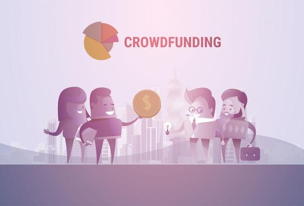 Concept d'investissement dans le financement participatif du groupe de gens d'affaires Vecteur Premium