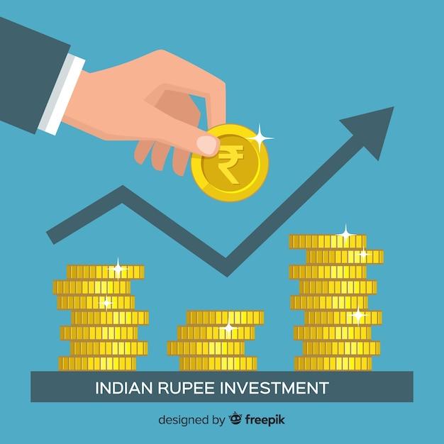 Concept d'investissement en roupie indienne Vecteur gratuit