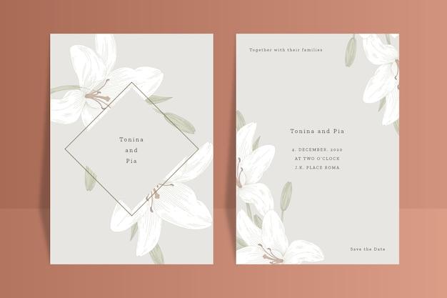 Concept D'invitation De Mariage Avec Fleur Vecteur gratuit
