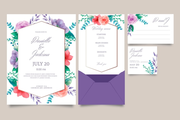 Concept D'invitation De Mariage Floral Vecteur gratuit