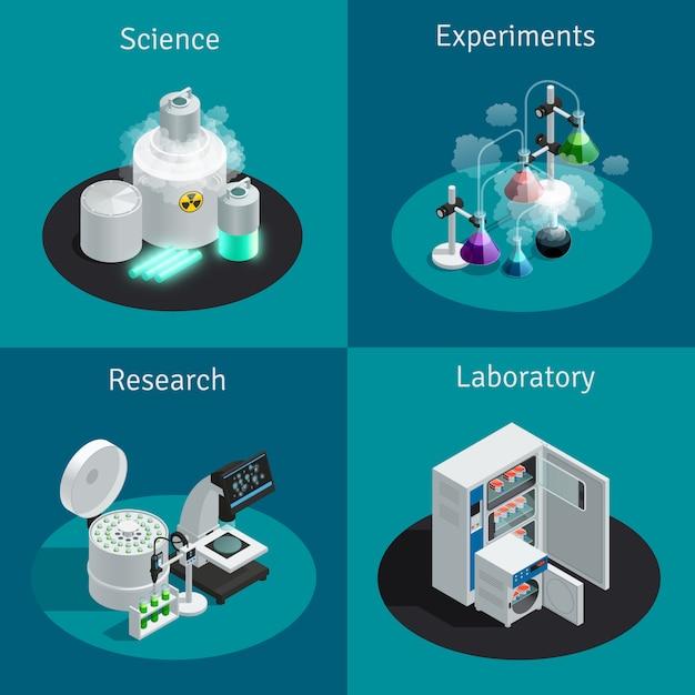Concept isométrique 2x2 du laboratoire scientifique avec substance pour l'expérience et équipement pour la recherche Vecteur gratuit