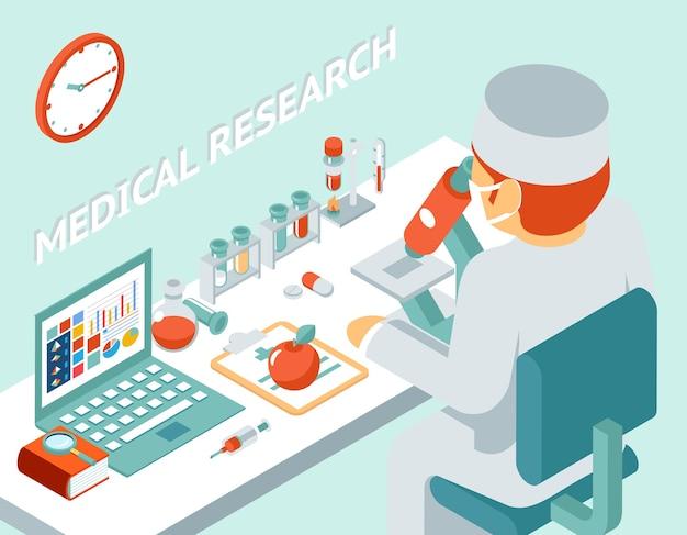 Concept Isométrique 3d De Recherche Médicale. Science Chimique, Médecine Et Pilule, Illustration Vectorielle Vecteur gratuit