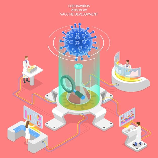 Concept Isométrique 3d De Recherche Sur Les Vaccins Contre Les Coronavirus. Vecteur Premium