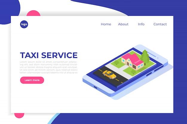 Concept Isométrique De L'application De Taxi Mobile En Ligne. Point D'itinéraire Gps Et Taxi Jaune. Vecteur Premium