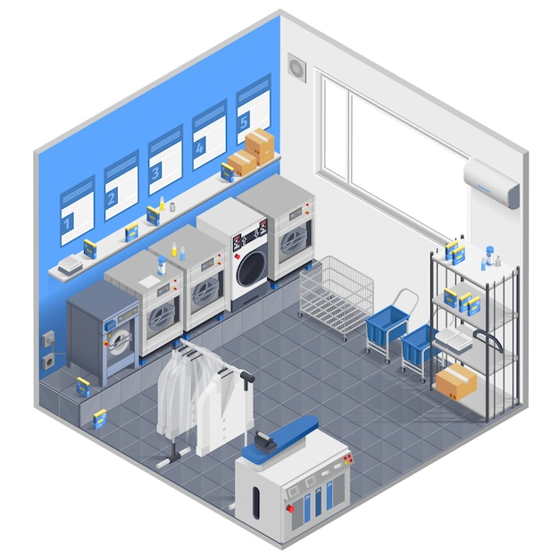 Concept isométrique de blanchisserie Vecteur gratuit