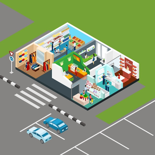 Concept isométrique de centre commercial Vecteur gratuit