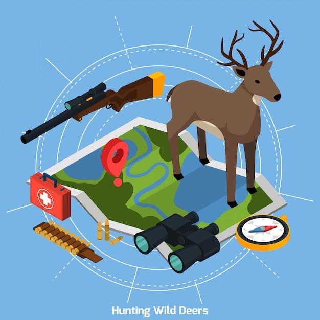 Concept isométrique de chasse Vecteur gratuit