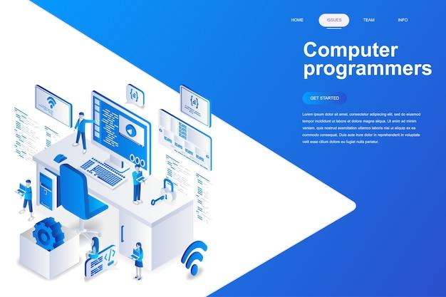Concept isométrique de conception plate moderne de programmeurs d'ordinateur. Vecteur Premium