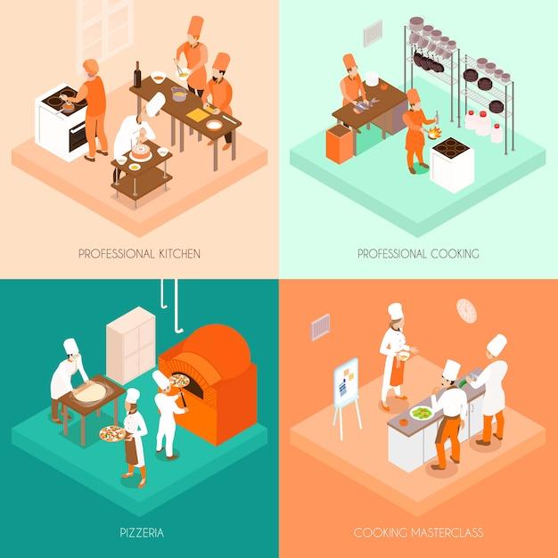 Concept isométrique de cuisson Vecteur gratuit